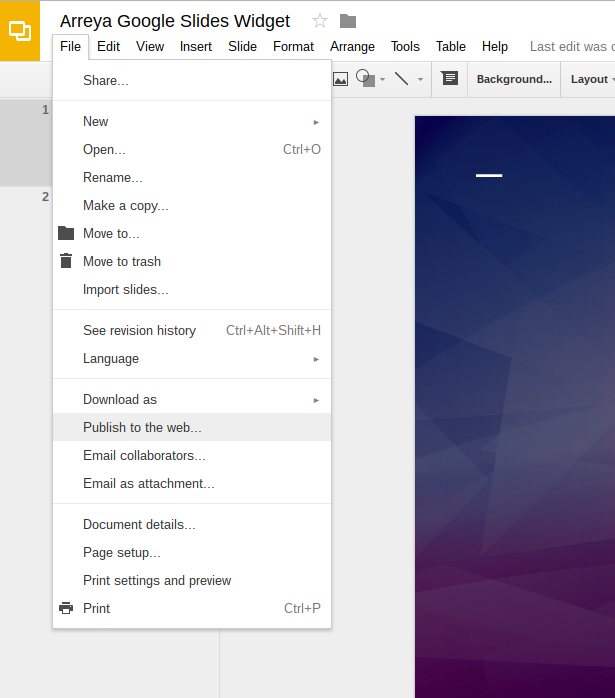 inserting a google slides slideshow with the google slides slideshow