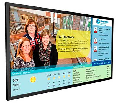 Healthcare Digital Signage with Calendar, Weather Widget, and Daily Menu