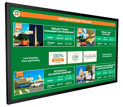 Menu Digital Signage Display Showing Prices For Tickets and Promotional Advertising
