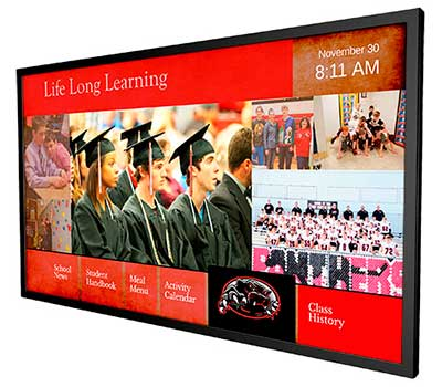 Digital Signage Display In A School Showing Touchscreen and Slide Show Signage