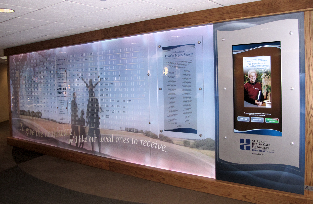 hospital touchscreen digital donor walls with cumulative and annual campaign donors