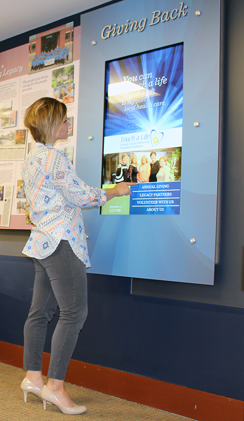 hospital touchscreen digital donor walls in portrait orientation