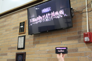 school digital signage monitor and phone livestream video