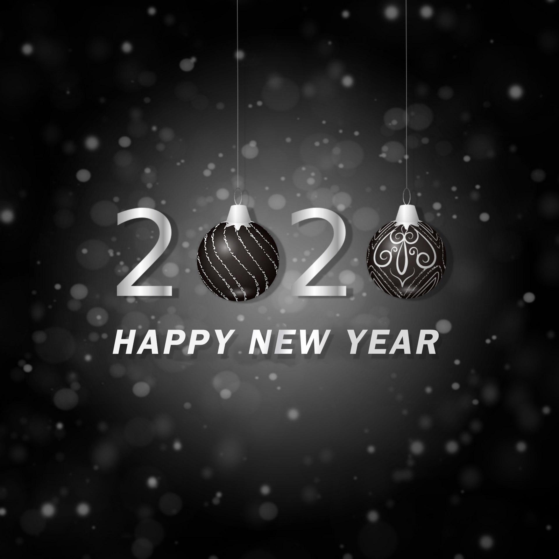 Happy New Year Black 2020 Digital Signage Content