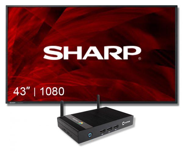 "Digital Sign Sharp Display 43"" Screen with chromebox"
