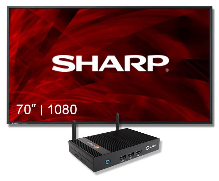 "Digital Sign Sharp Display 70"" Screen with chromebox"