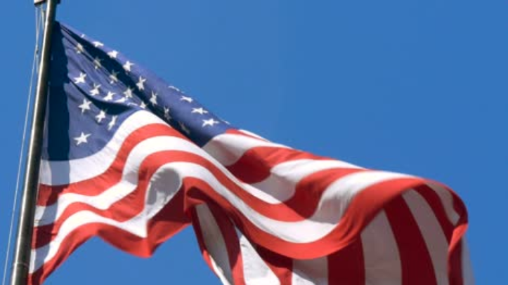 Close Up of USA Flag Flying