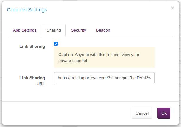 Private Link Sharing Settings in Arreya Digital Signage