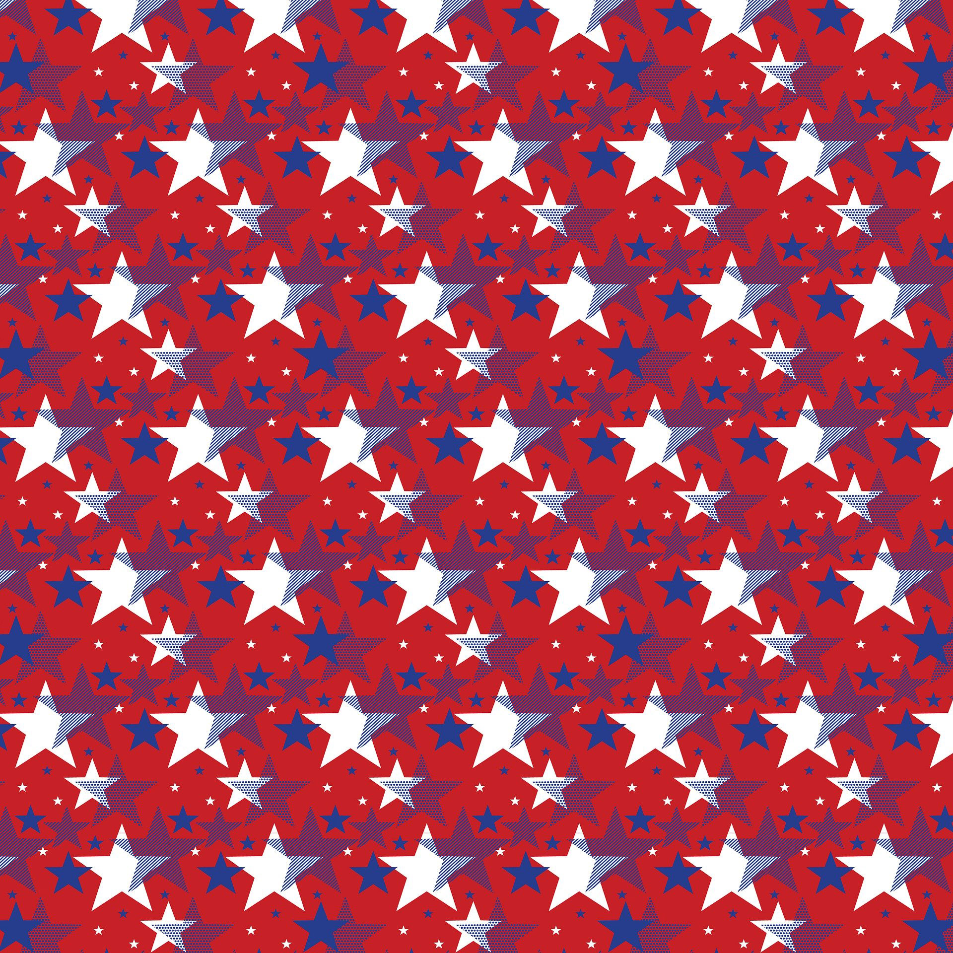 4th of July - Blue and White Stars on Red Background