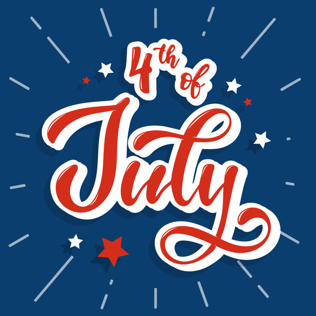 4th of July - Text With Stars on Dark Blue Background