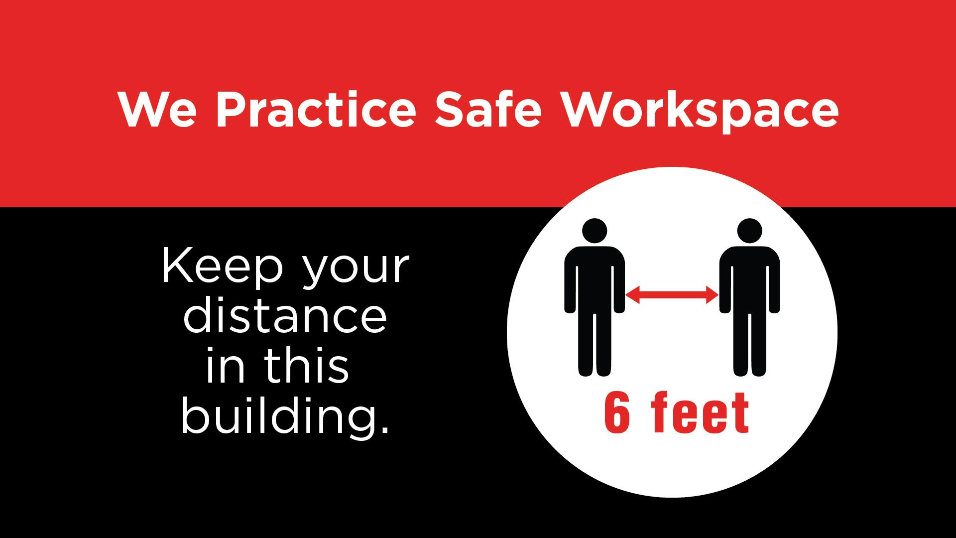 Safe Workspace - Keep Your Distance Digital Signage Image