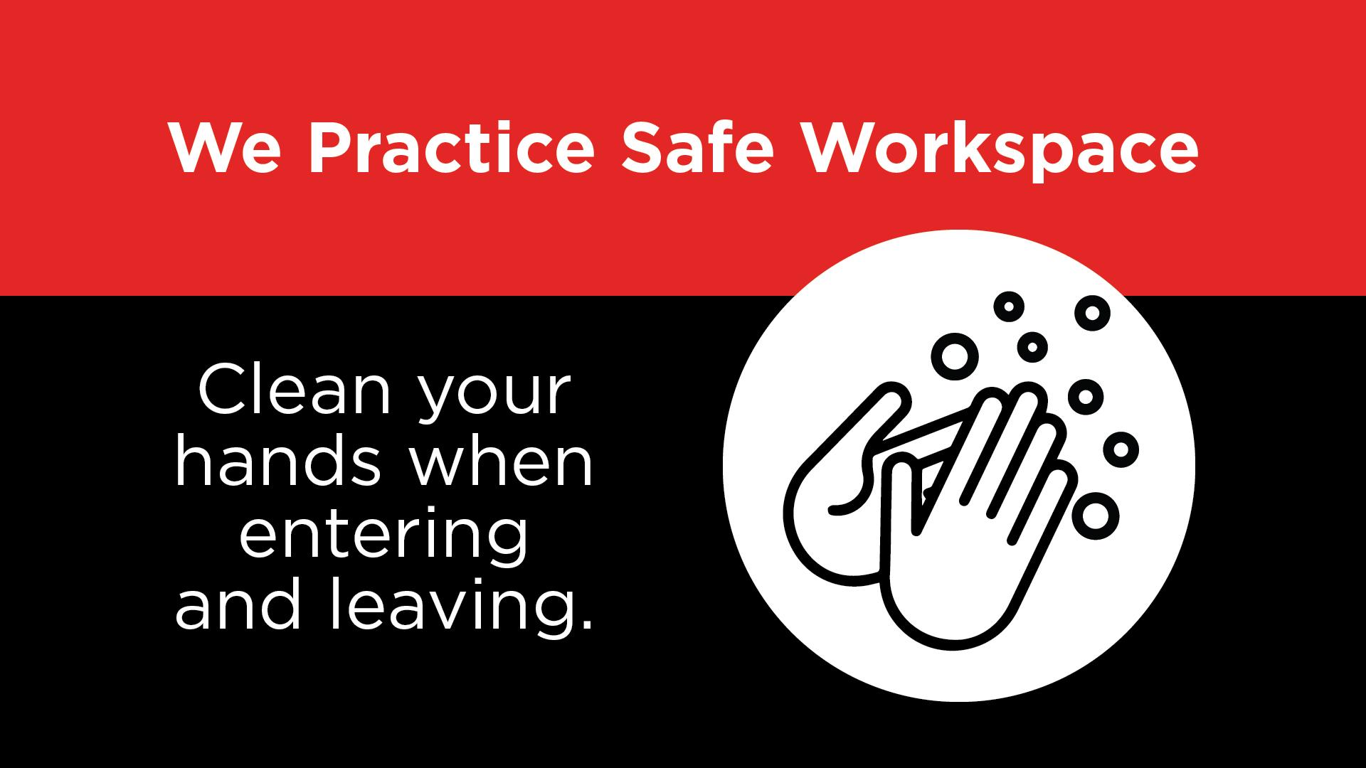 Safe Workspace - Clean Your Hands Digital Signage Image