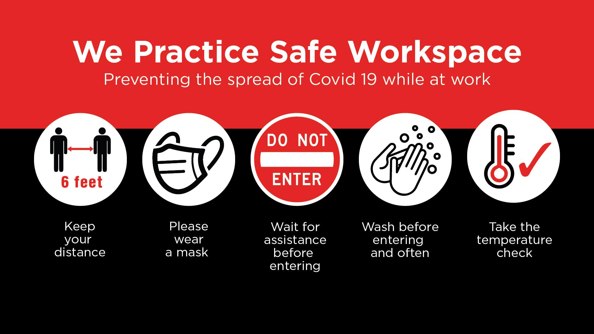 Safe Workspace - Prevent the Spread Digital Signage Image