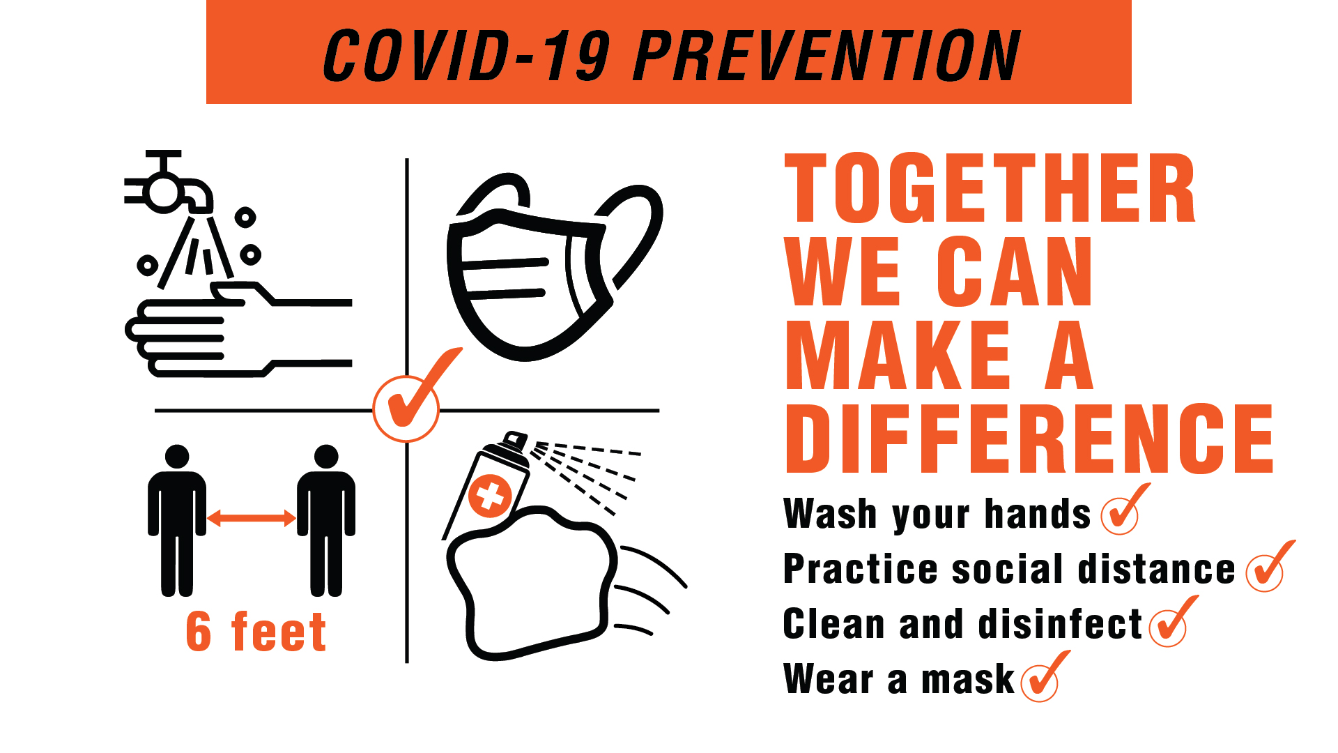 Covid-19 Prevention - Together We Can Digital Signage Image