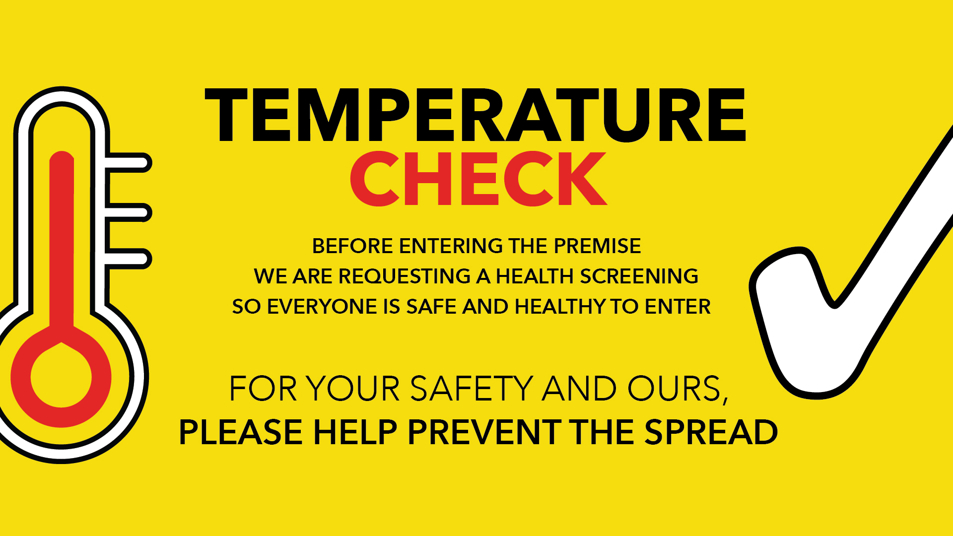 For Your Safety And Ours - Temperature Check Digital Signage Image