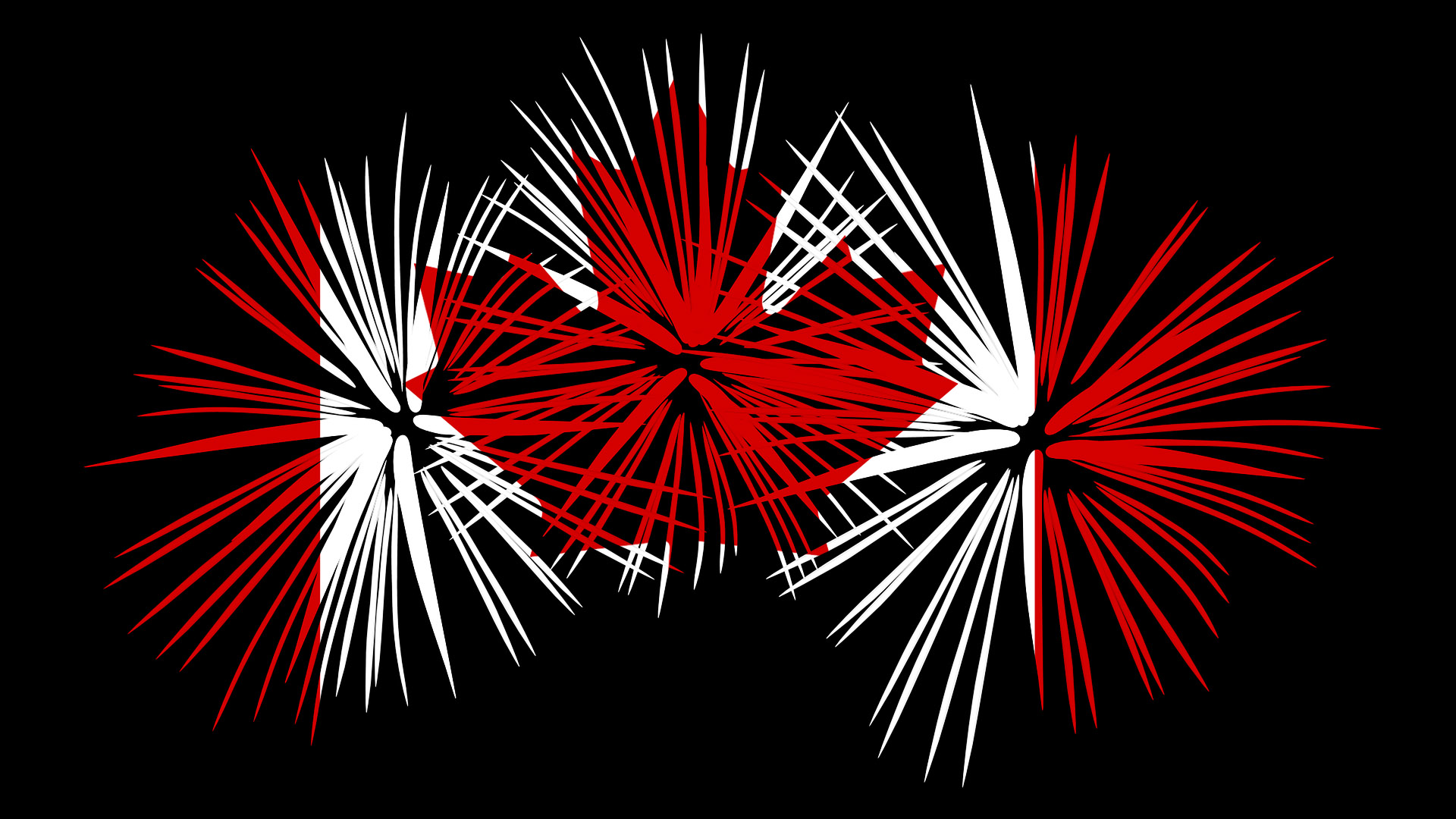 Canada Day - Red and White Flag in Fireworks Burst