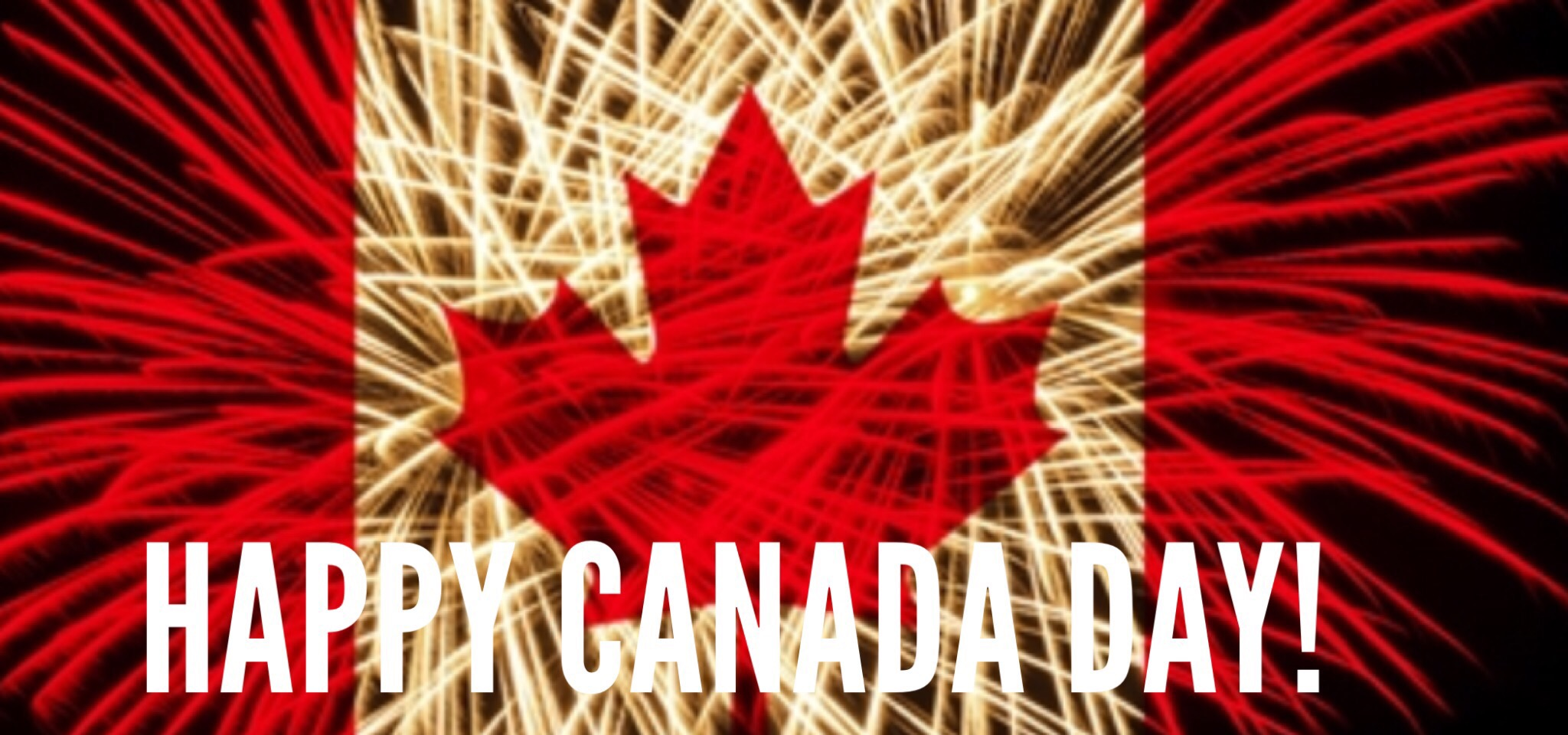 Canada Day - Canada Flag Faded Over Fire Works Burst