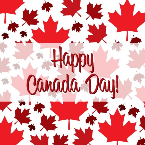Canada Day - Red Maple Leaf on White Background with Happy Canada Day Text