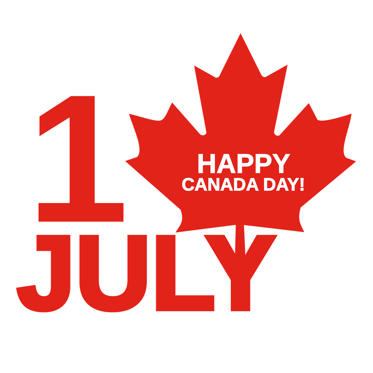 Canada Day - Logo Icon With Maple Leaf July 1st Message
