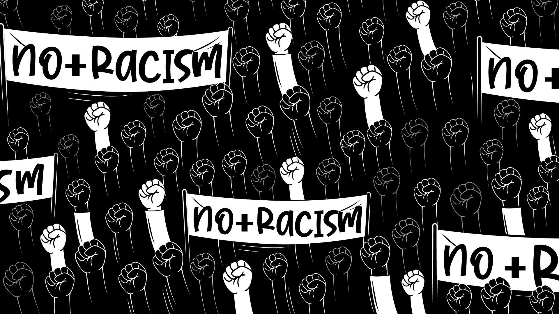 Equality and Diversity Graphics - No Racism Flag with Hands Raised
