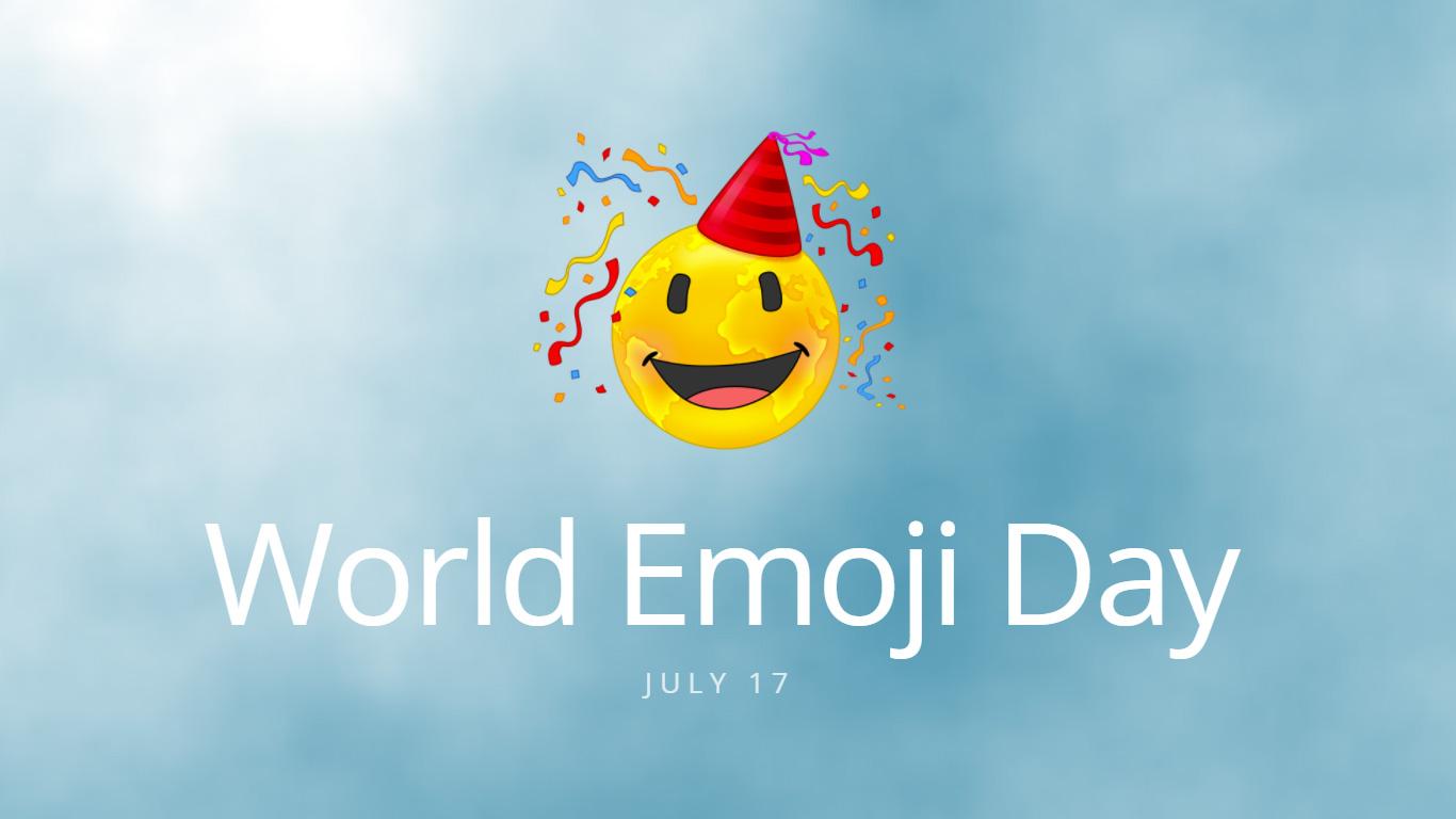 World Emoji Day Graphic July 17 on Blue Background
