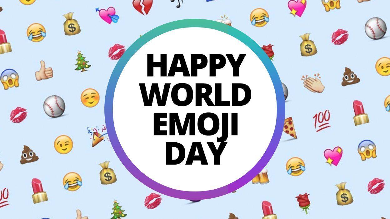 World Emoji Day Graphic Happy Emoji Day with Emoji Icon In Background
