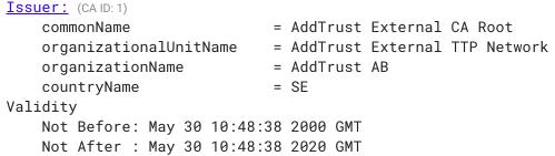 AddTrust Root CA Expiration Fix