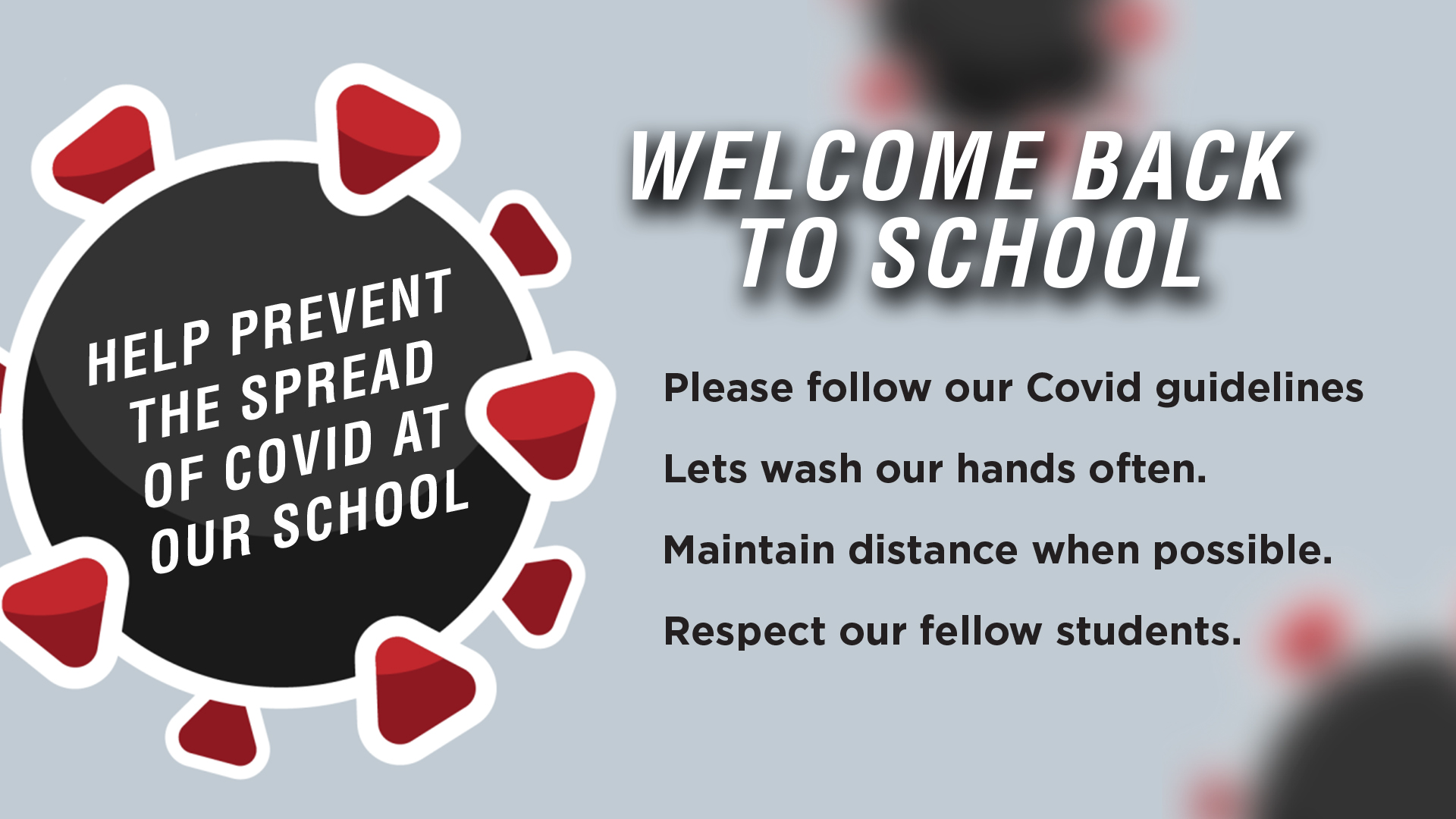 Back To School Covid Social distancing Message Graphic for Digital Signage Communications