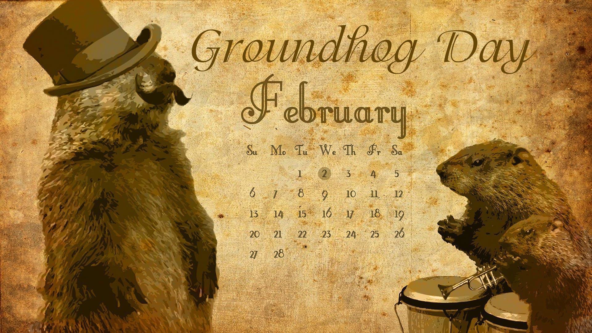 February 2 Groundhog Day Digital Signage Graphic