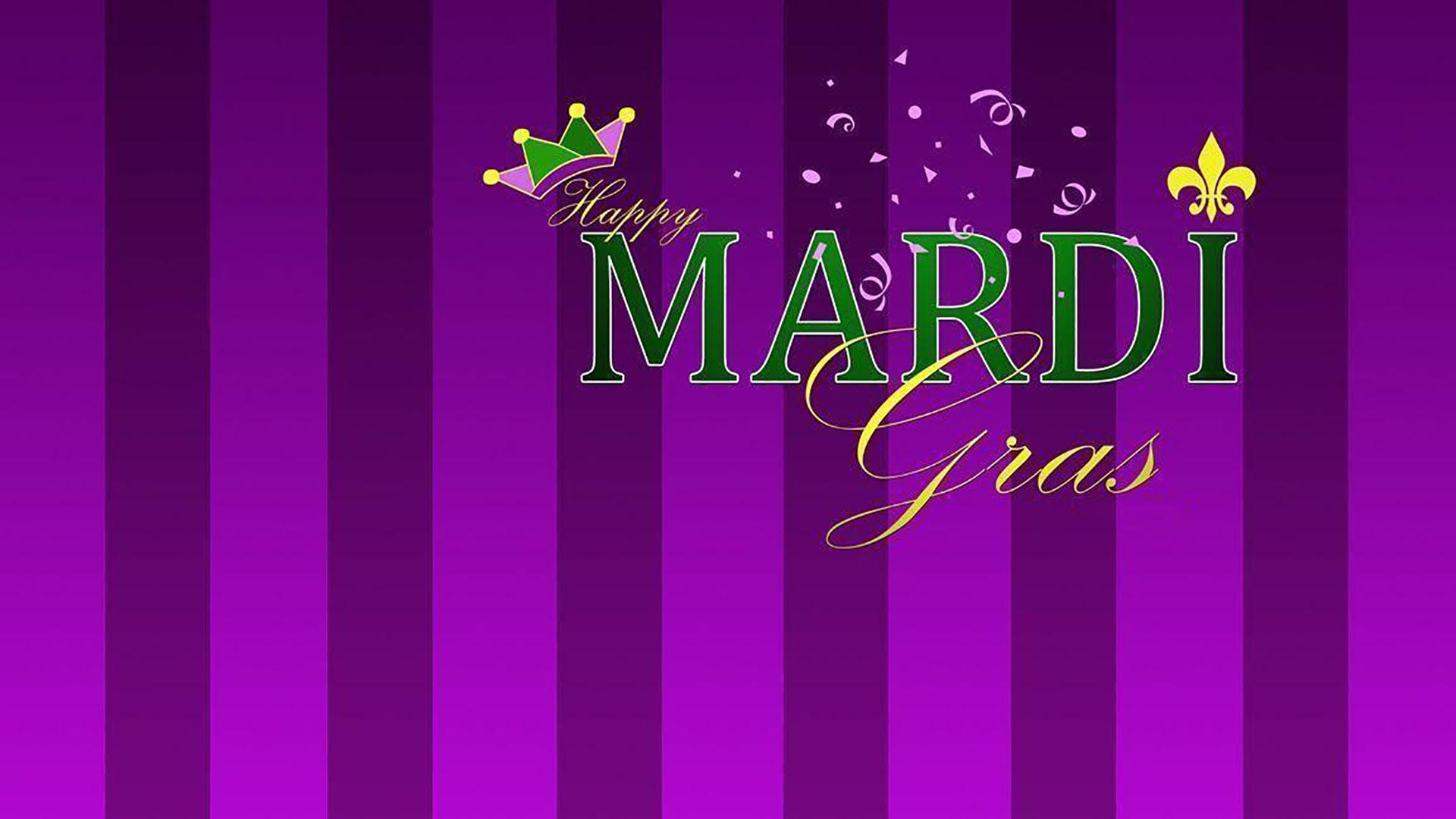 February 16 Mardi Gras Digital Signage Graphic
