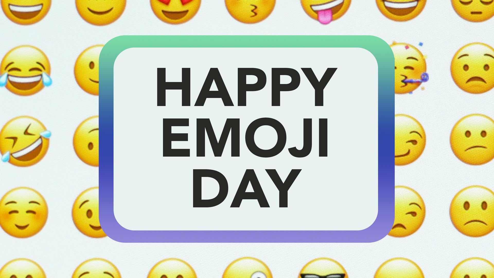 Happy Emoji Day July 17 Digital Signage Graphic