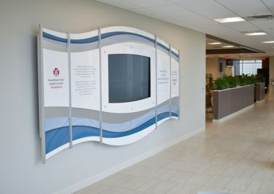 Marshfield Marshfield Clinic Health System Foundation Healthcare Hospital Interactive Display Branding Display Rail Wall Rail Wall Systems DW Page